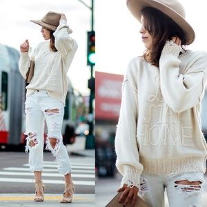 Wildfox Lets Stay Home Sweater Cream Beige Knit M